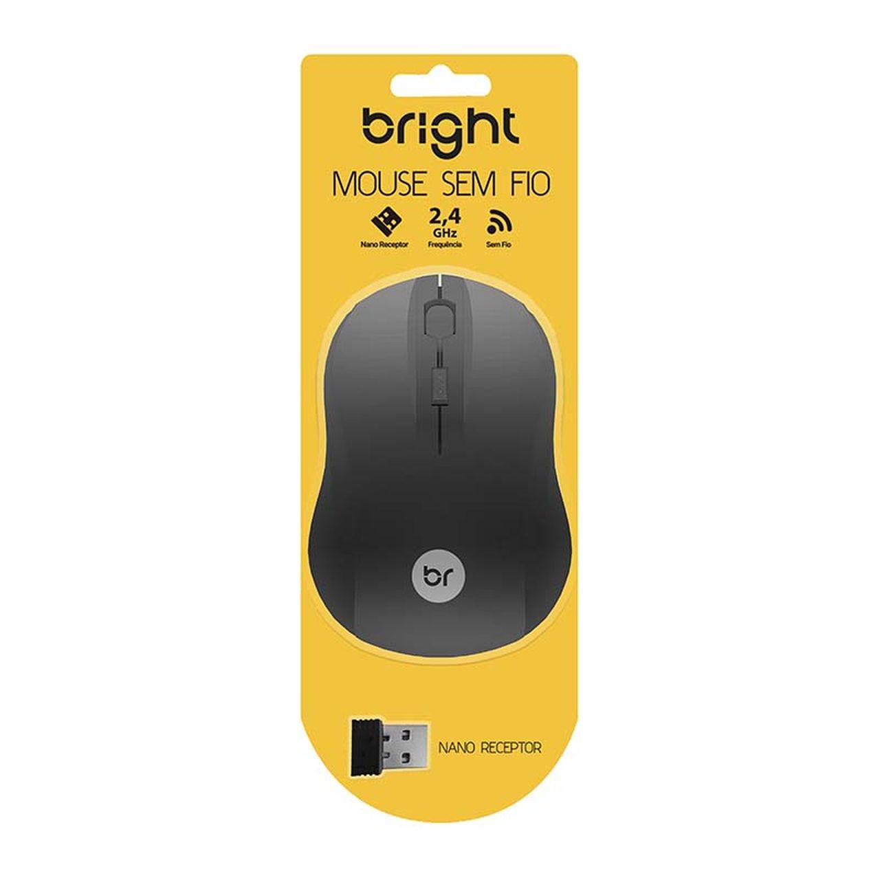 Mouse Sem Fio 2.4Ghz Escócia Preto Até 1000 Dpi Bright 95