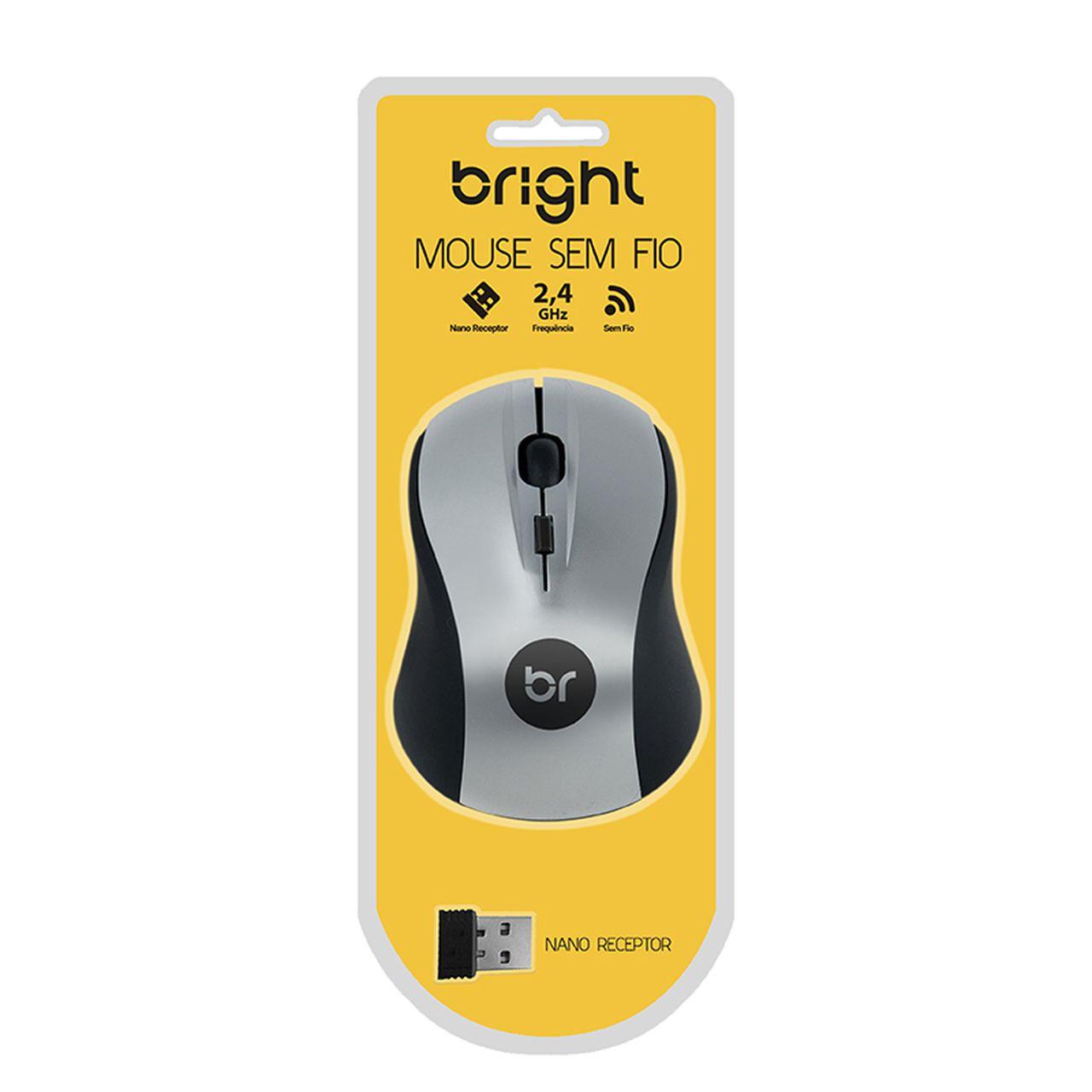 Mouse Sem Fio Suiça Preto e Prata 205 - Bright