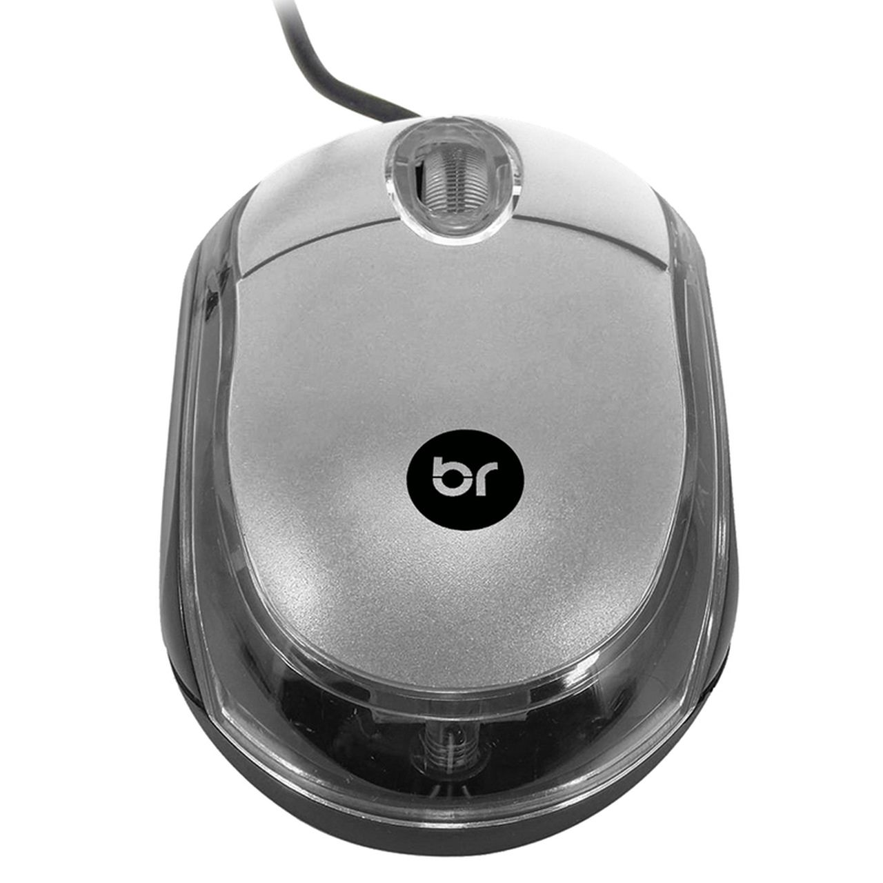 Mouse Usb Óptico com Fio Prata e Preto 800 Dpi 107 Bright  - BRIGHT