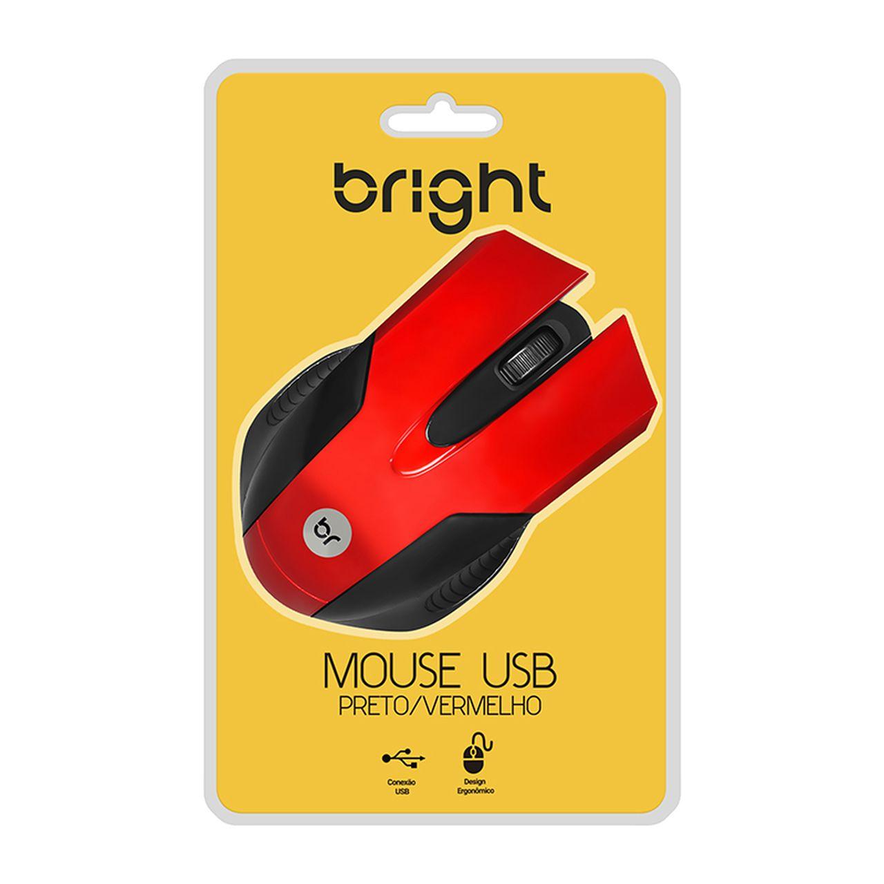 Mouse USB Vermelho com design ergonômico 2210 - Bright