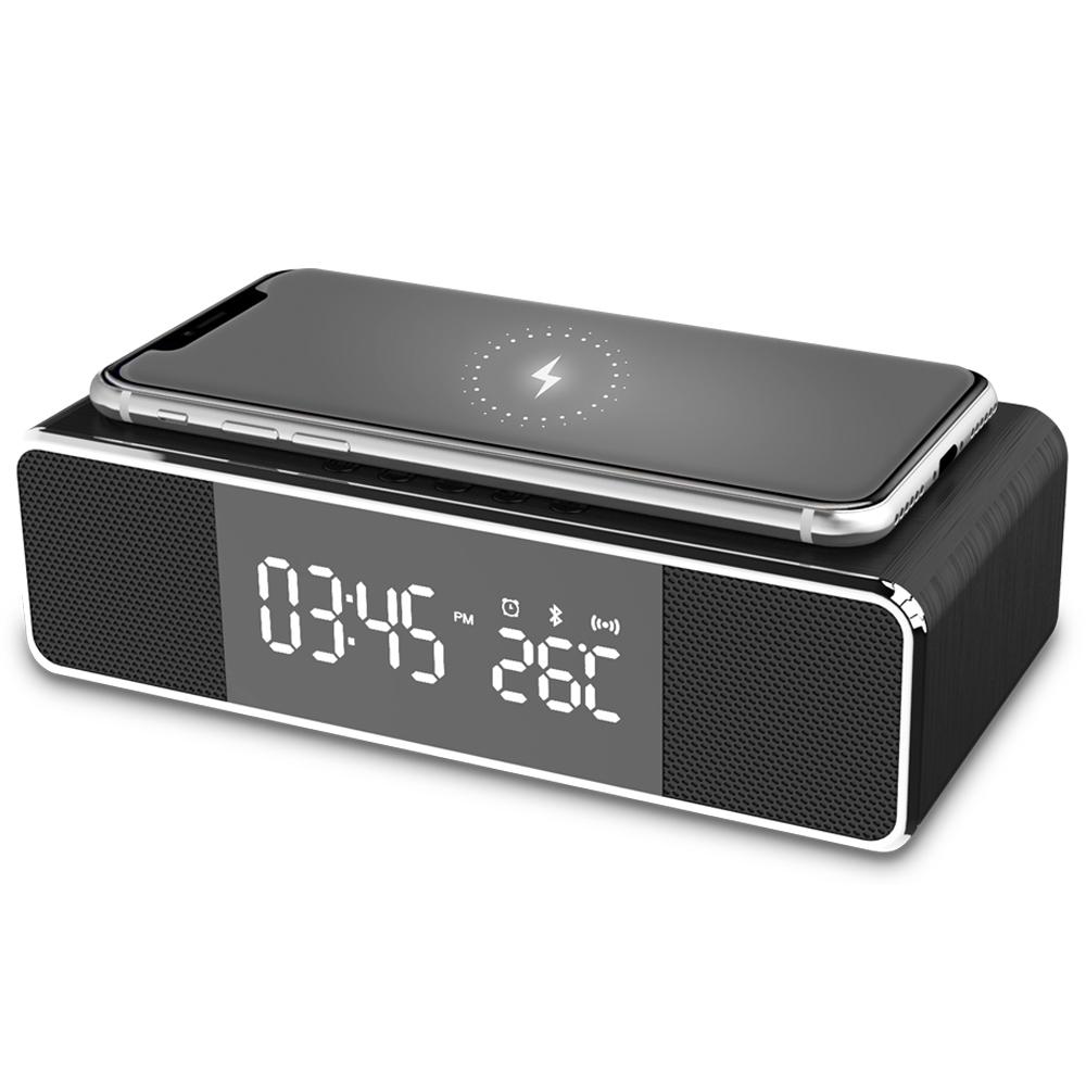 Radio Relógio Com Carregador Por Indução Qi e Som Bluetooth  - BRIGHT