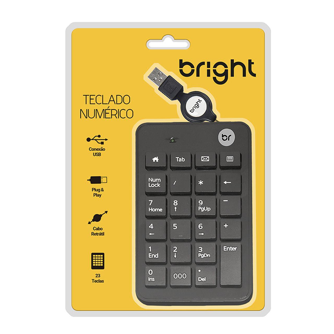 Teclado Numérico com cabo retrátil USB Preto 134 - Bright