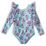 Body Praia Infantil Maça Geométrica Azul Tip Top