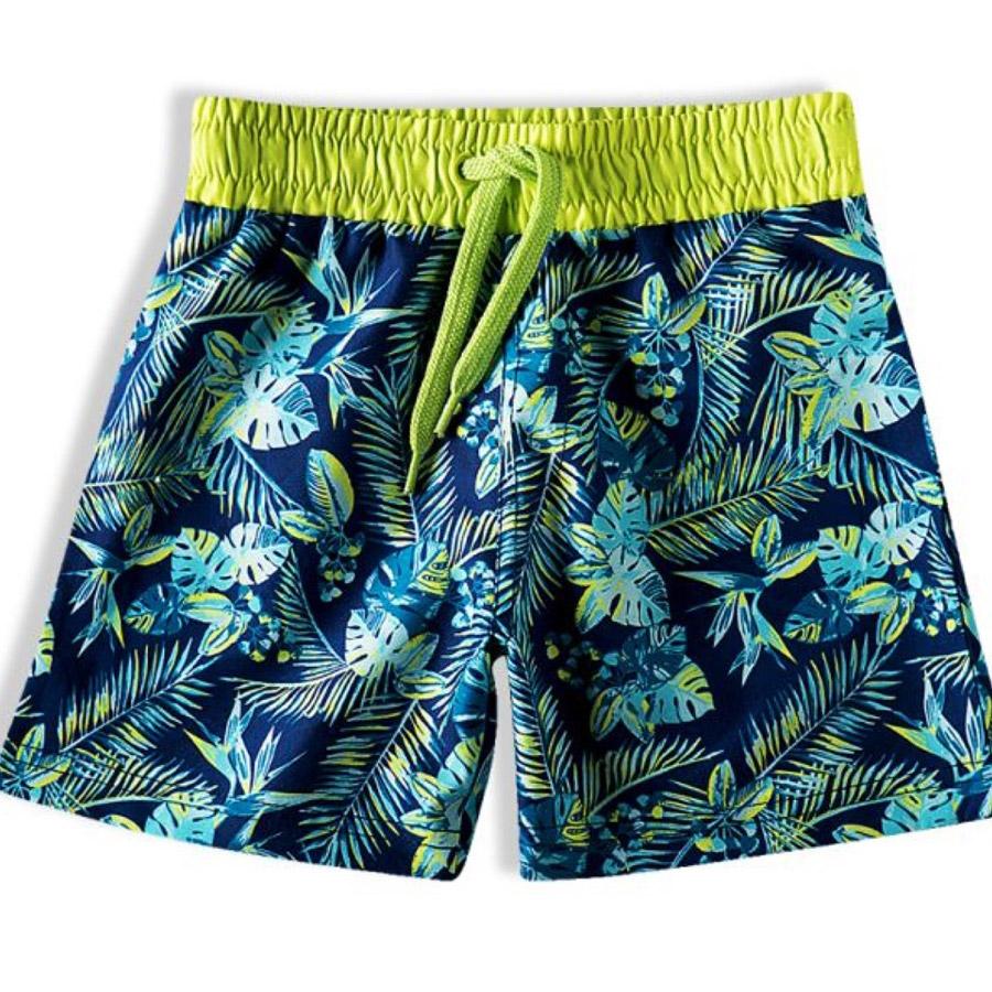 Bermuda Infantil em Tactel Tropical Verde Limão Tip Top