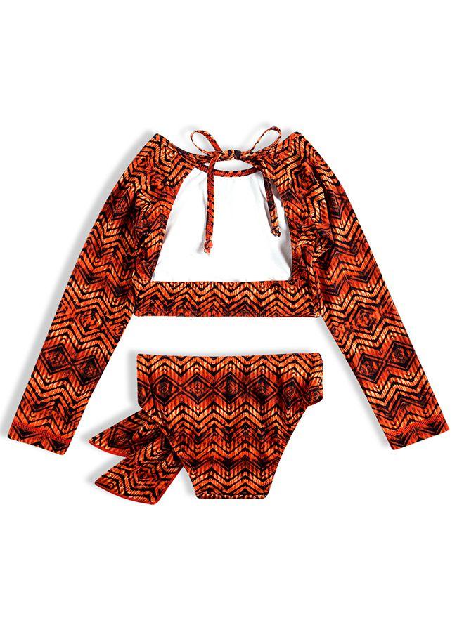 Biquíni Infantil Cropped Tribal Laranja Tip Top