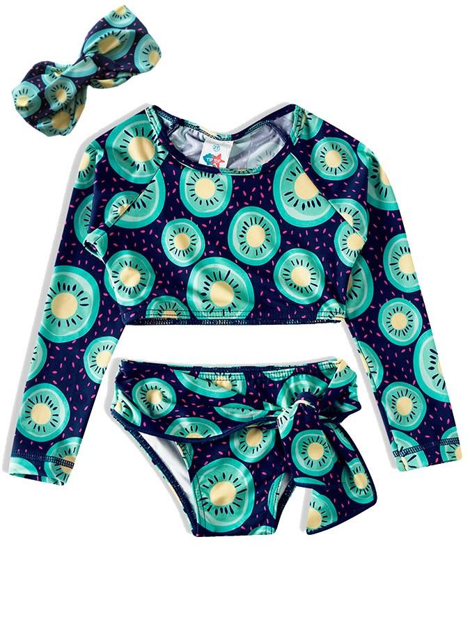 Biquíni Infantil  com Faixa Cropped Frutas Kiwi Marinho Tip Top