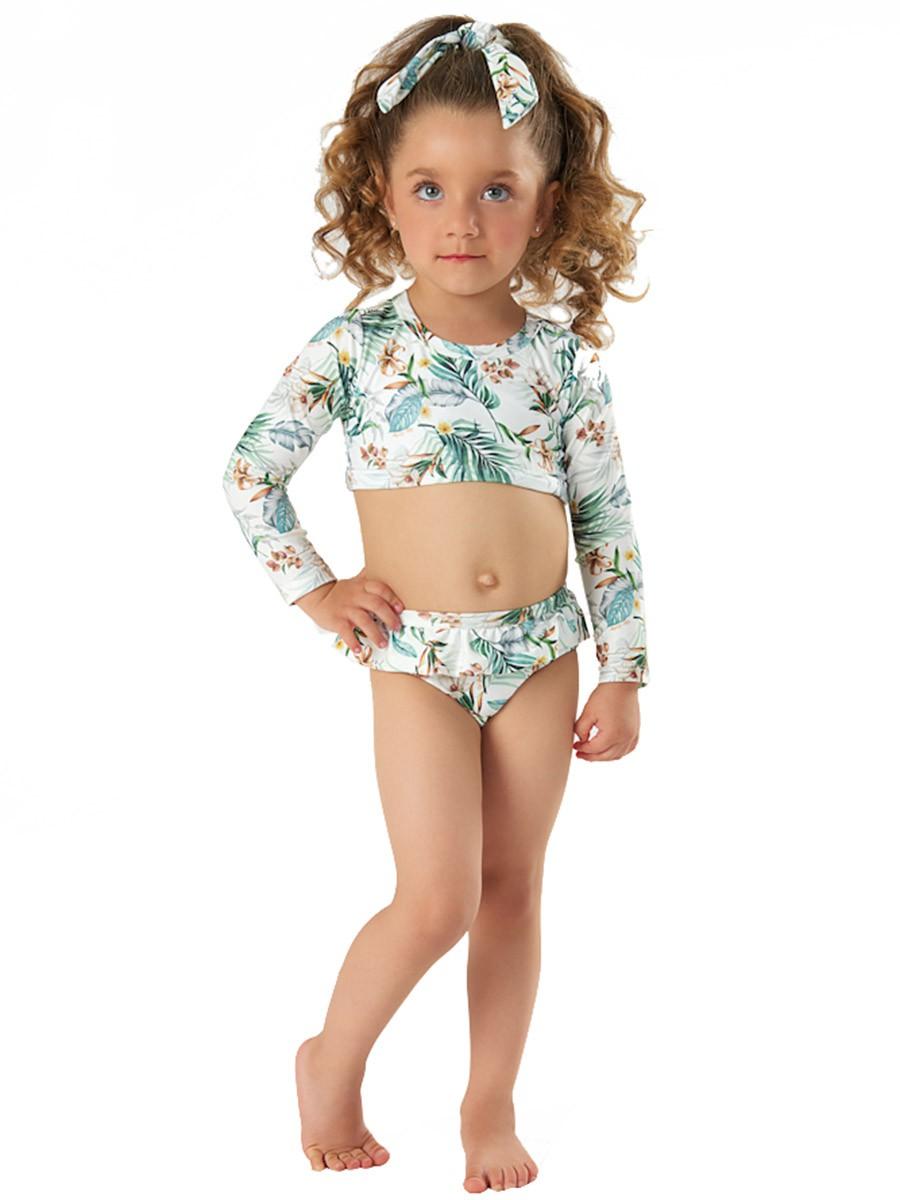 Biquíni Infantil com Faixa Cropped Tropical Branco Up Baby