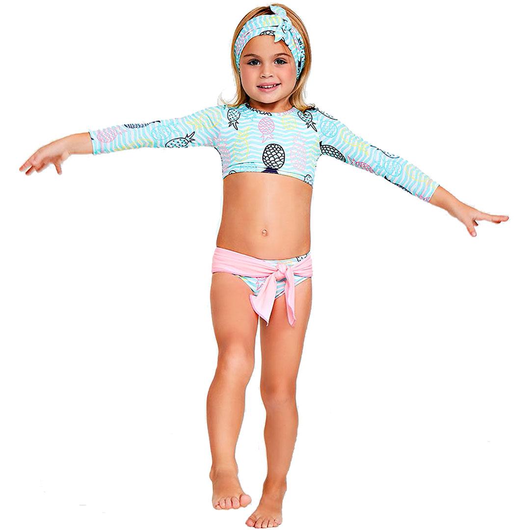 Biquíni Infantil  Cropped Abacaxis Turquesa Tip Top