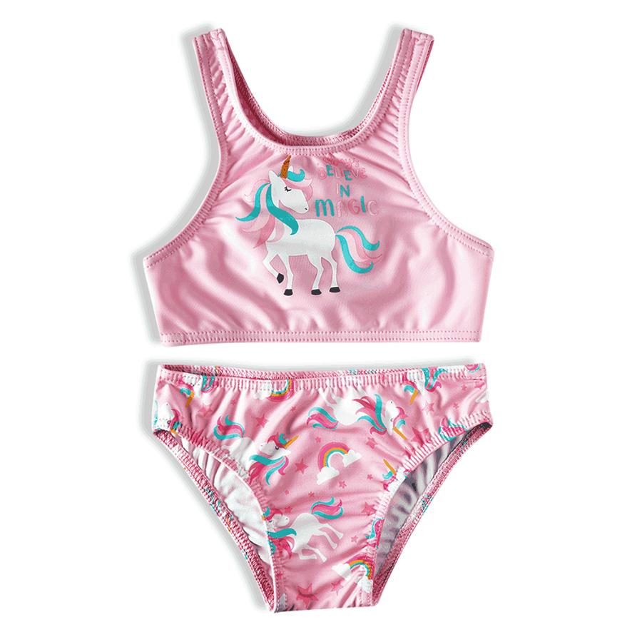 Biquíni Infantil Top com Calcinha Unicórnios Rosa Tip Top