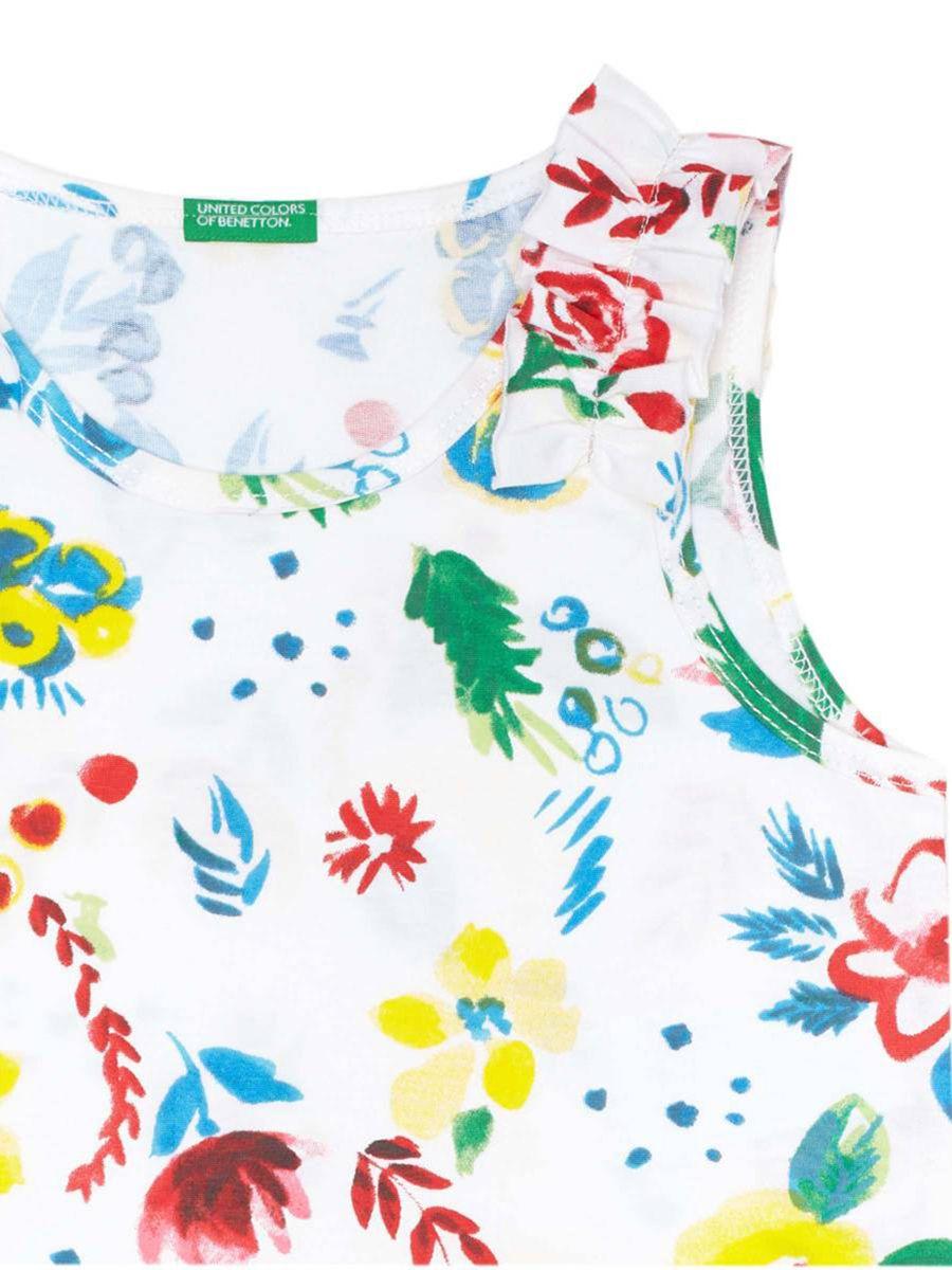 Blusa Infantil Sem Manga Estampada Floral Branca United Colors of Benetton
