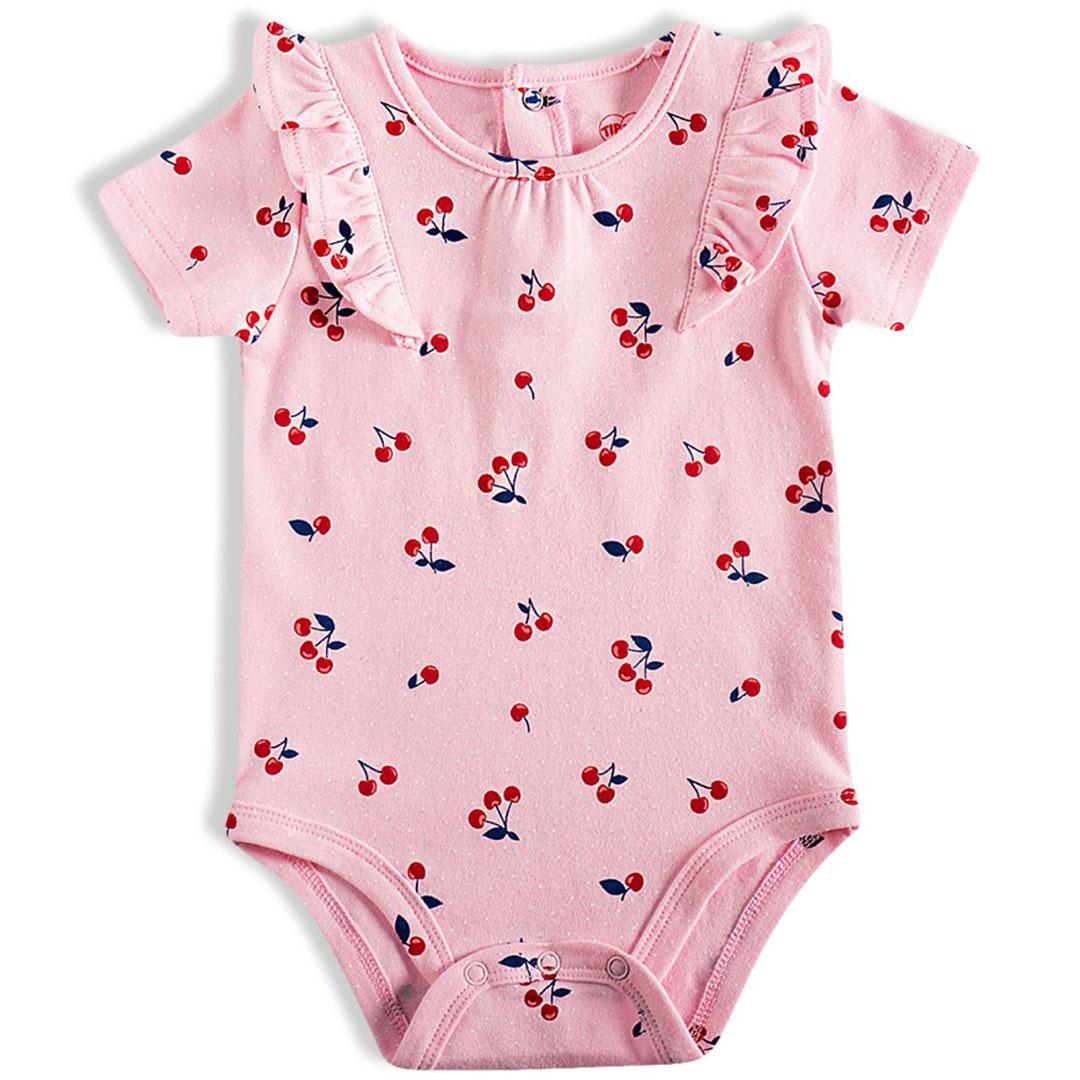 Body Bebê Cerejas Rosa Tip Top