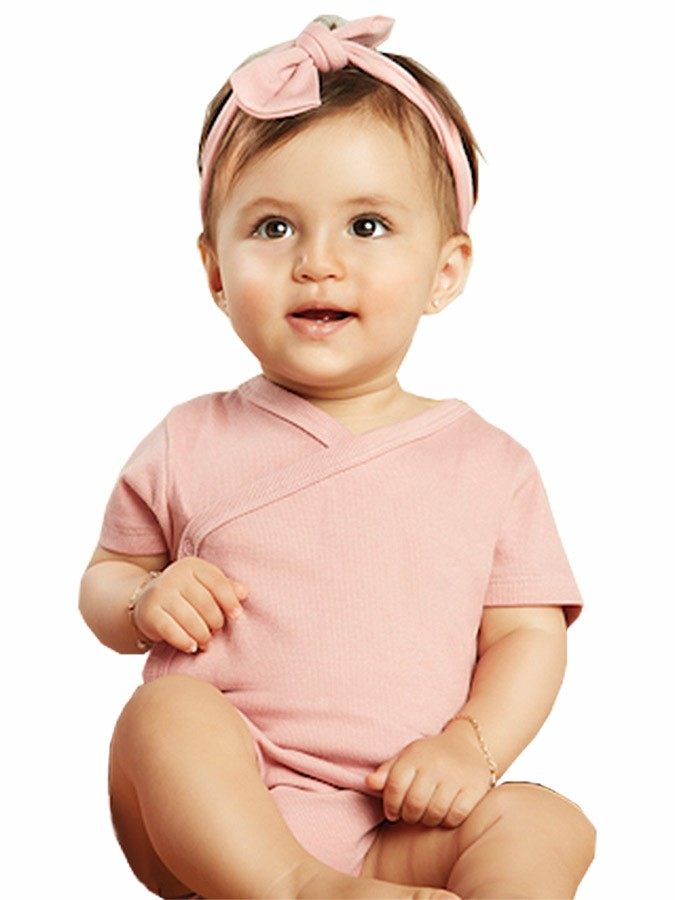 Body Bebê Manga Curta com Faixa em Ribana Rosa Antigo Up Baby
