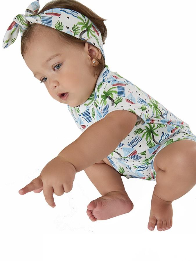 Body Bebê sem Manga com Faixa Veleiros Branco Up Baby
