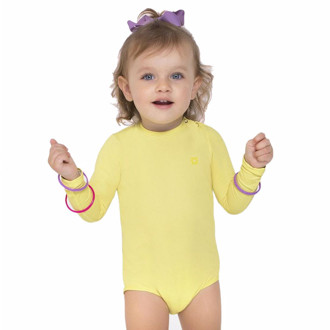 Body Praia Infantil Amarelo Claro UV.LINE