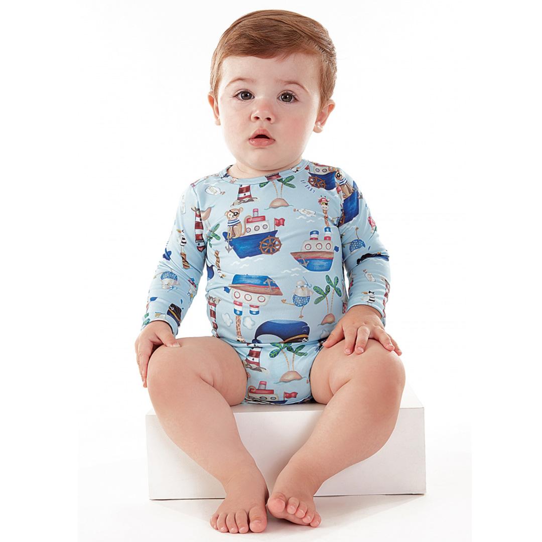 Body Praia Infantil Barquinhos Azul Up Baby