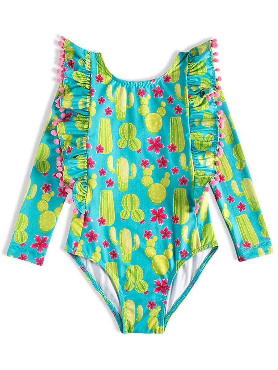 Body Praia Infantil Cactos Turquesa Tip Top