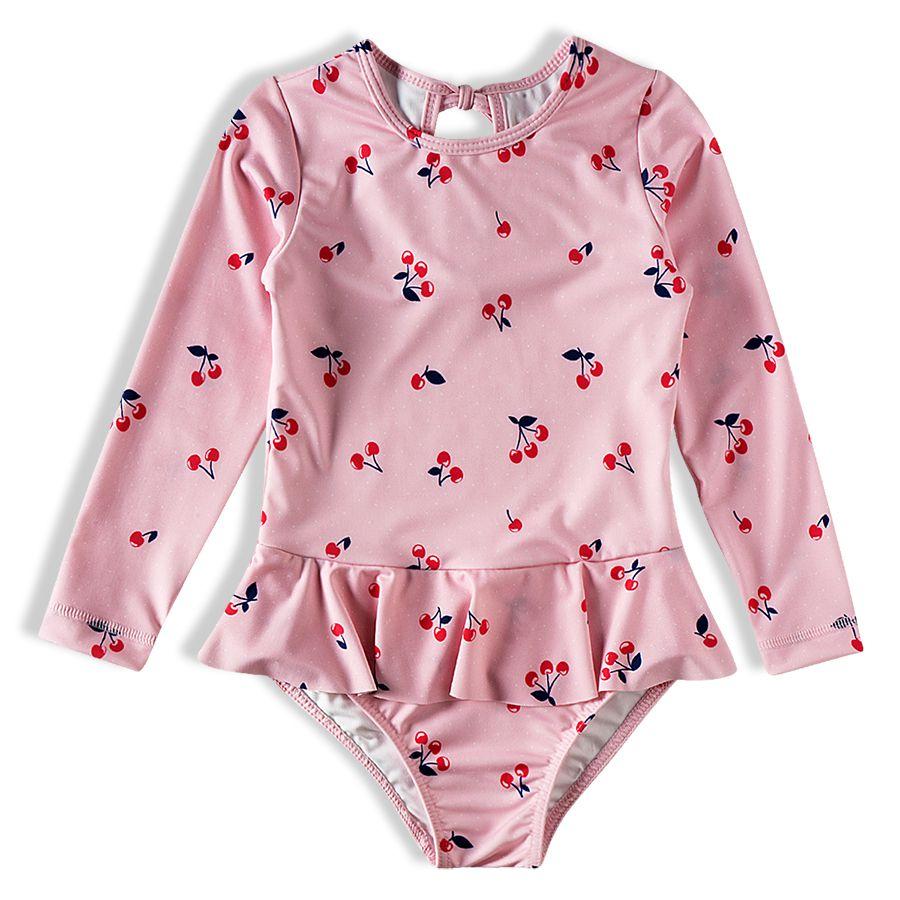 Body Praia Infantil Cerejas Rosa Tip Top