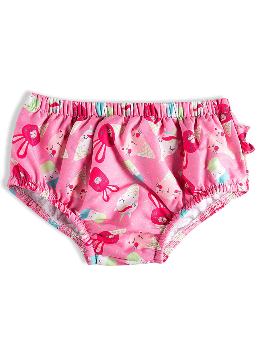 Calça Biquíni Porta Fralda Unicórnios Rosa Tip Top