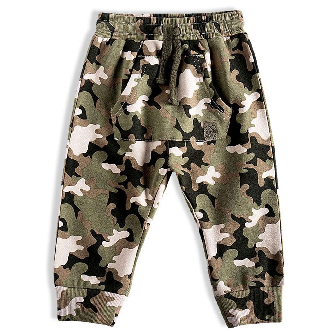 Calça Infantil em Moletom Camuflada Verde Militar Tip Top
