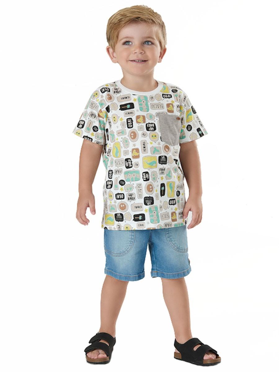 Camiseta Infantil Manga Curta Balões Bege Up Baby