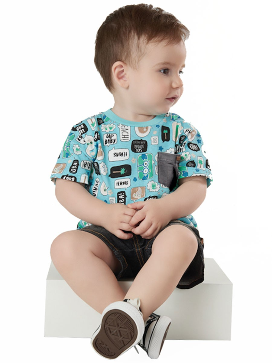 Camiseta Infantil Manga Curta Balões Turquesa Up Baby