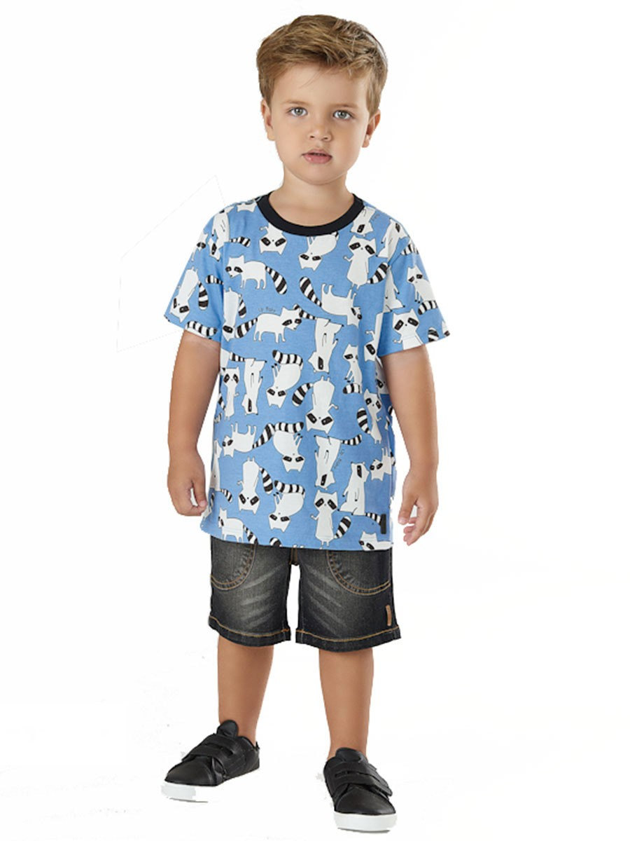 Camiseta Infantil Manga Curta Guaxinim Azul Up Baby
