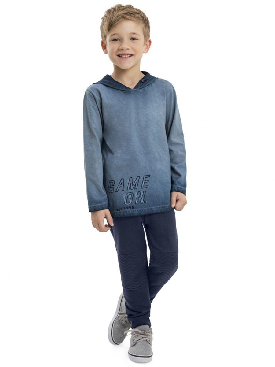 Camiseta Infantil Manga Longa com Capuz Marinho Quimby