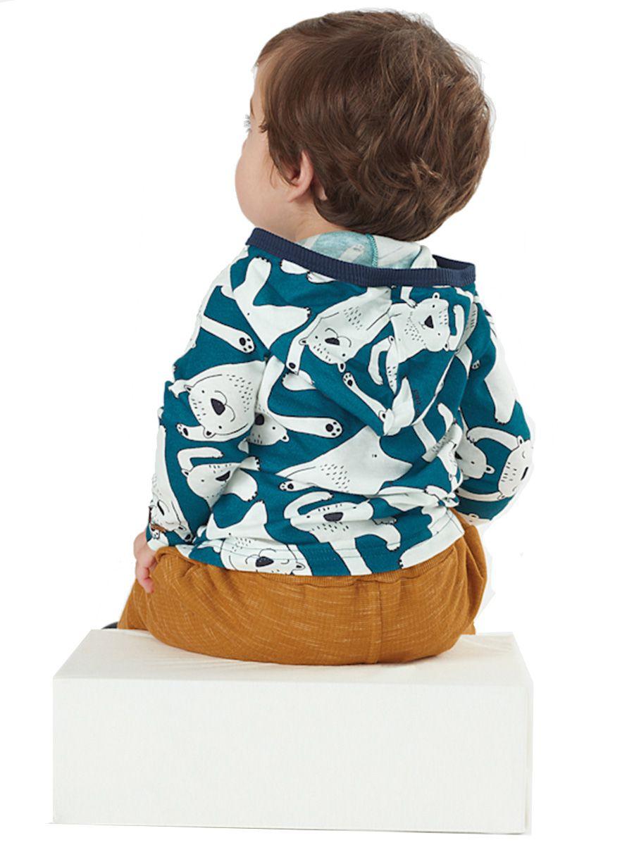 Camiseta Infantil Manga Longa com Capuz Ursos Verde Up Baby