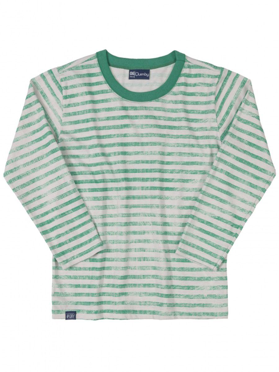 Camiseta  Infantil  Manga Longa Listrada Verde Quimby