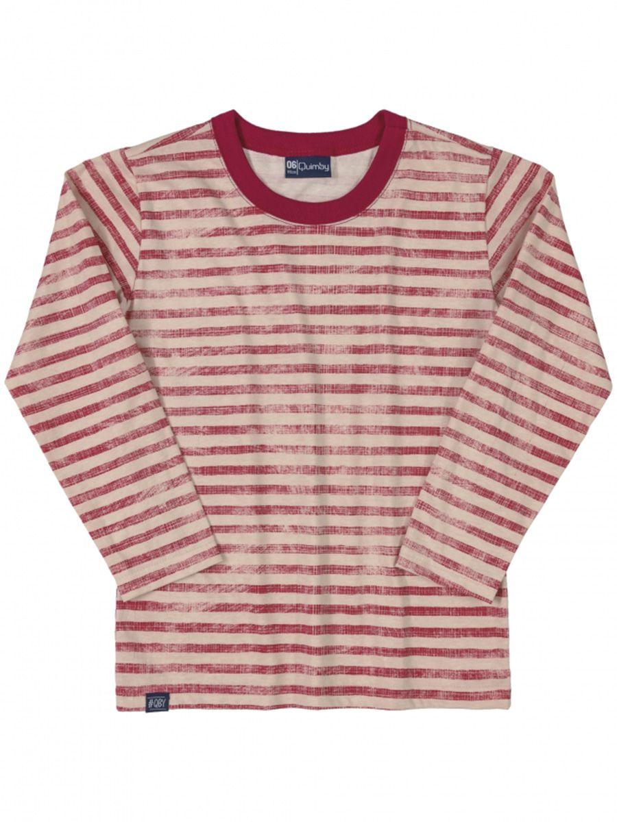 Camiseta Infantil Manga Longa Listrada Vermelha Quimby