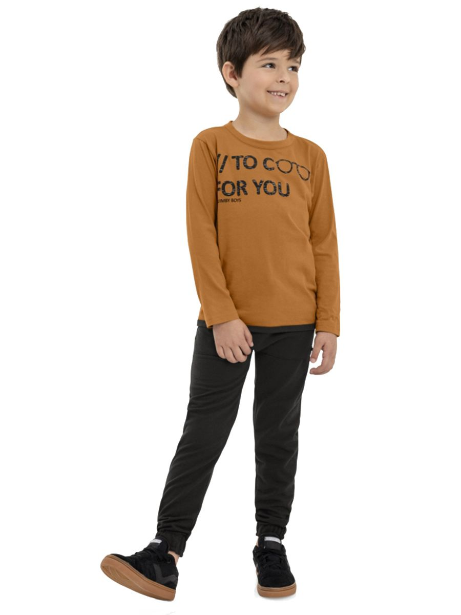 Camiseta  Infantil  Manga Longa Marrom Quimby