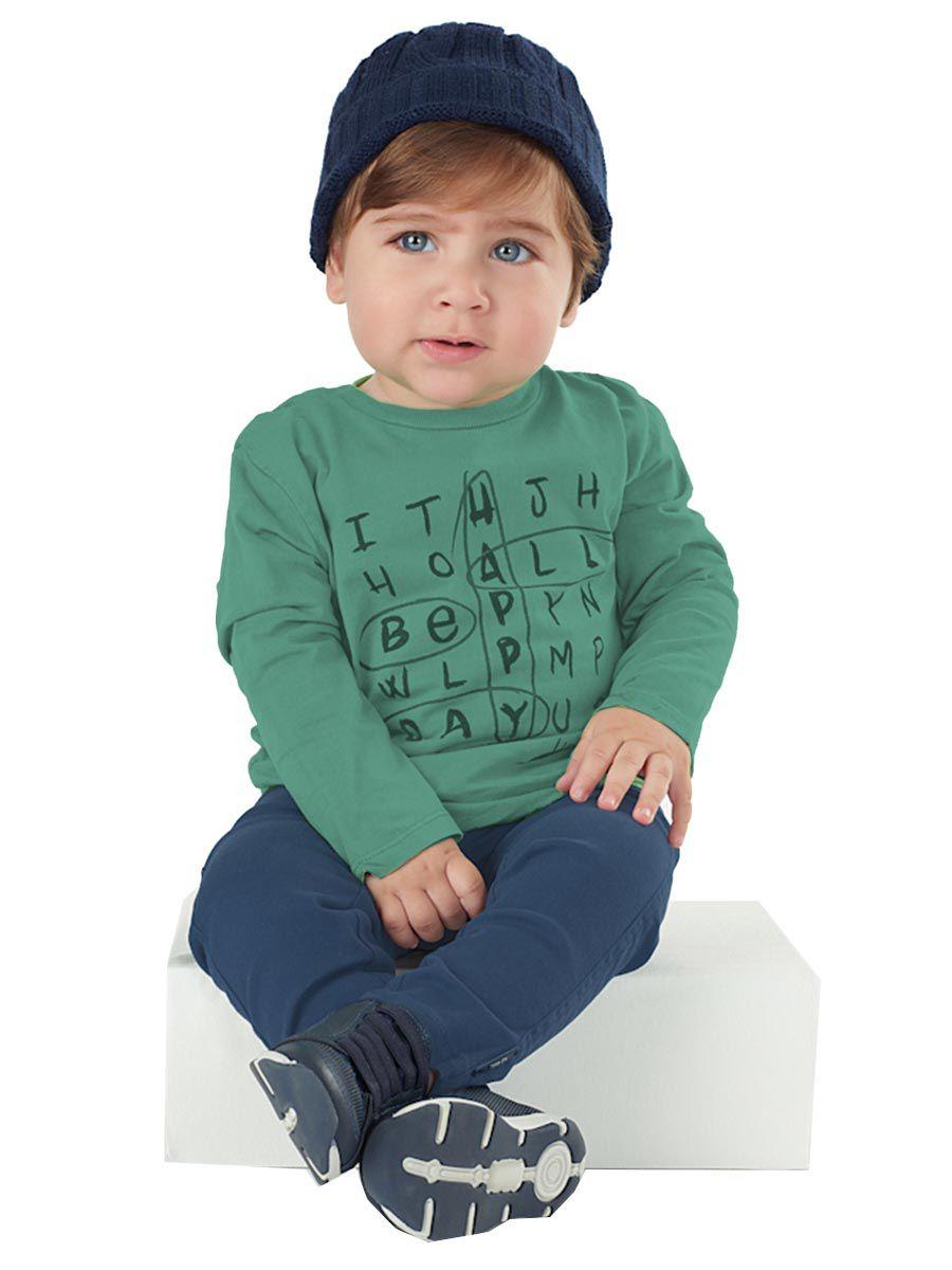 Camiseta Bebê Manga Longa Verde Absinto Up Baby