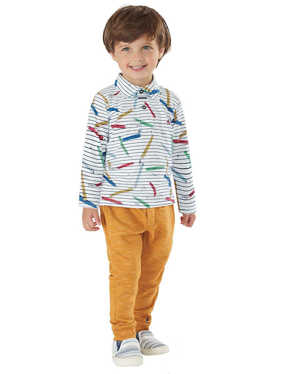 Camiseta Polo Infantil Manga Longa Listrada Up Baby