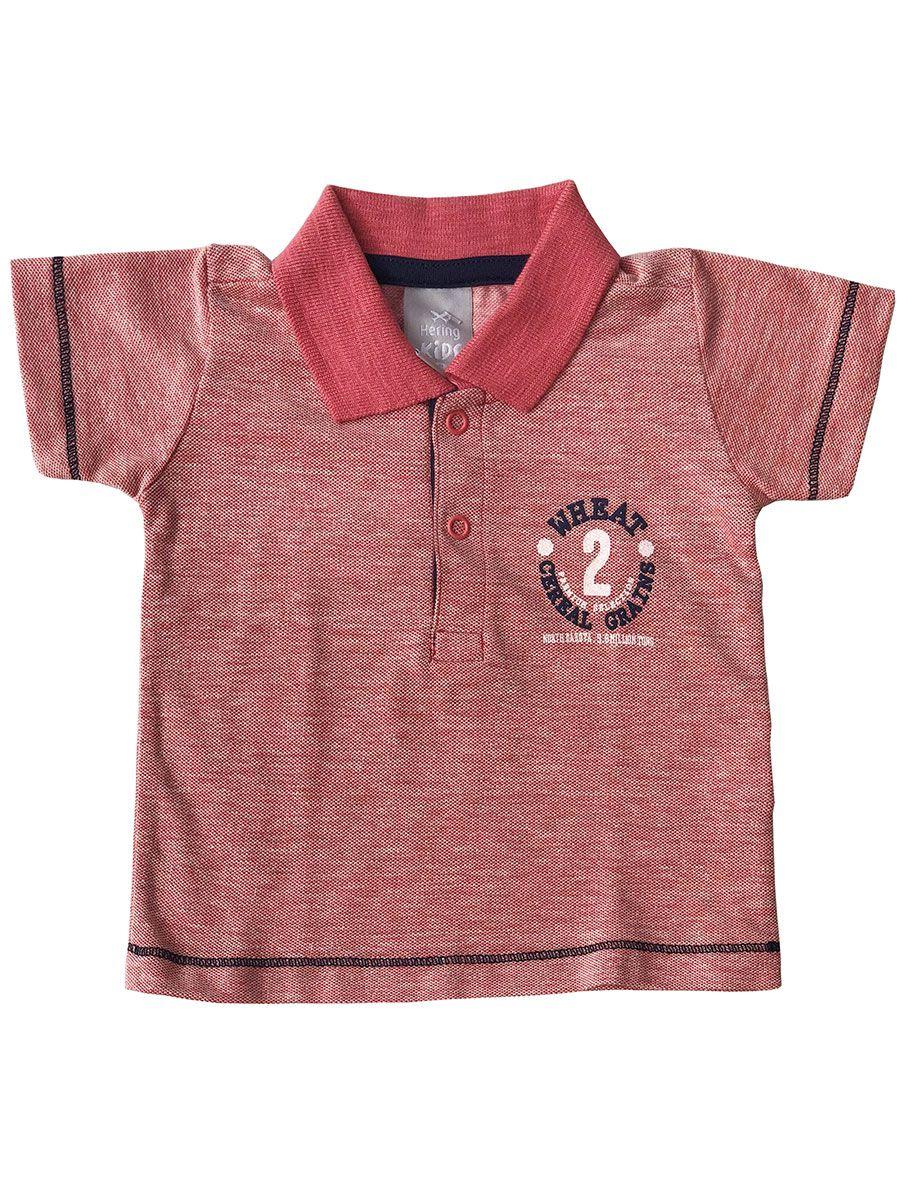 Camiseta Polo Bebê Mescla Vermelha Hering Kids