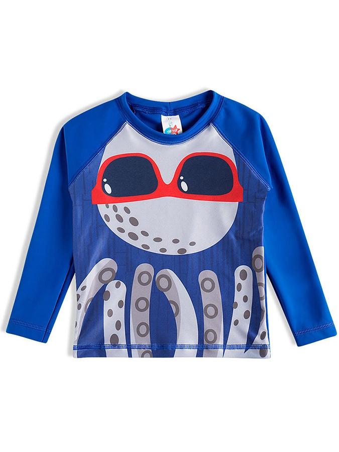 Camiseta Praia Bebê Polvo Azul Tip Top