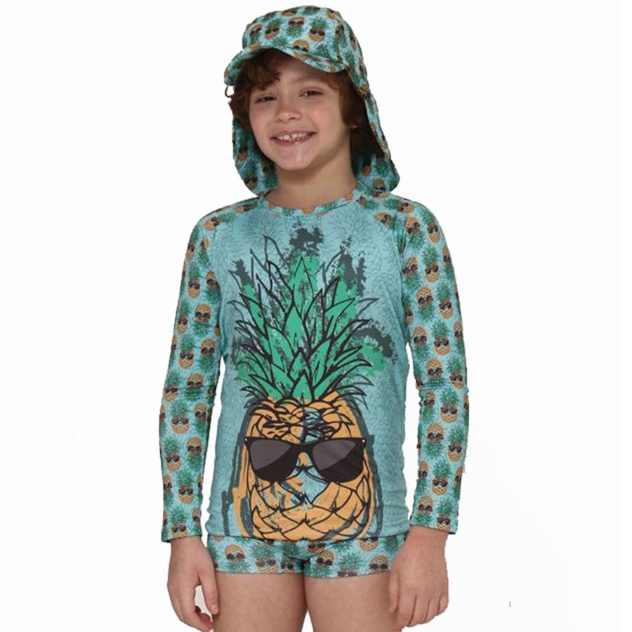 Camiseta Praia Infantil Abacaxi Verde Accua UV.Line