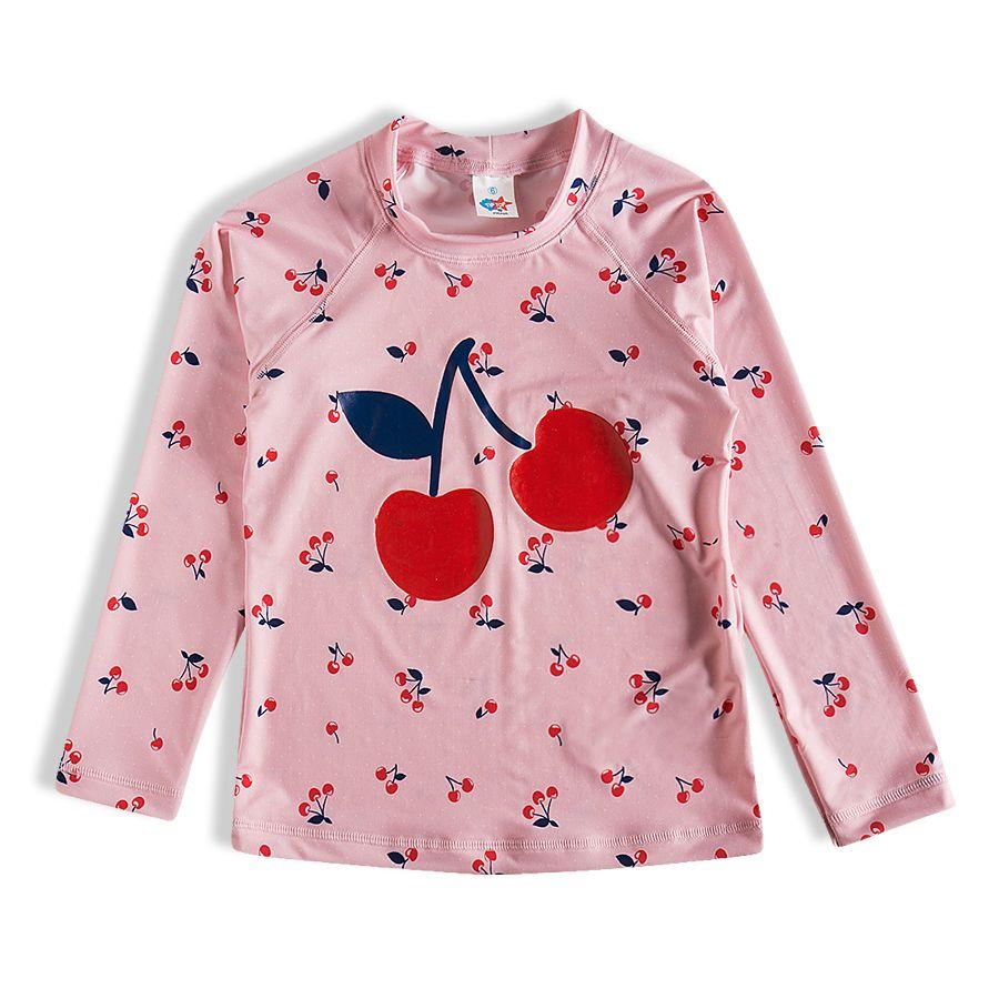 Camiseta Praia Infantil Cerejas Rosa Tip Top