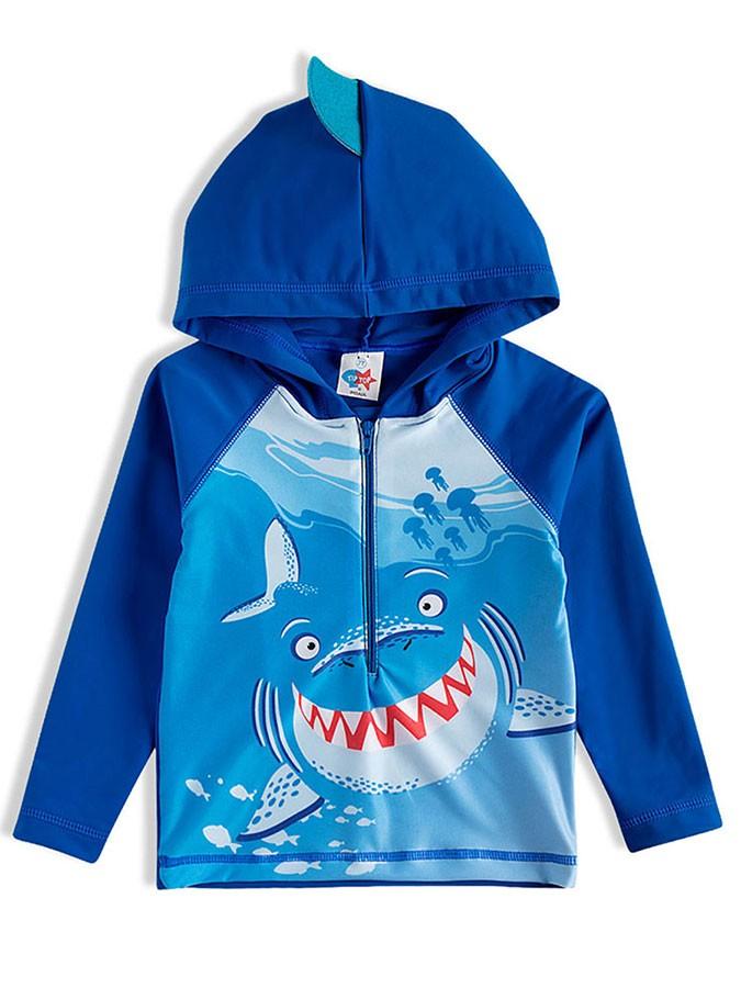 Camiseta Praia Infantil com Capuz Tubarão Azul Tip Top