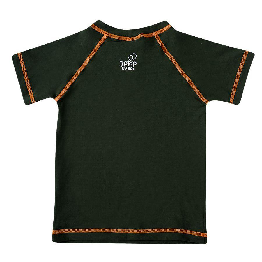Camiseta Praia Infantil Manga Curta Dino Dino Verde Militar Tip Top