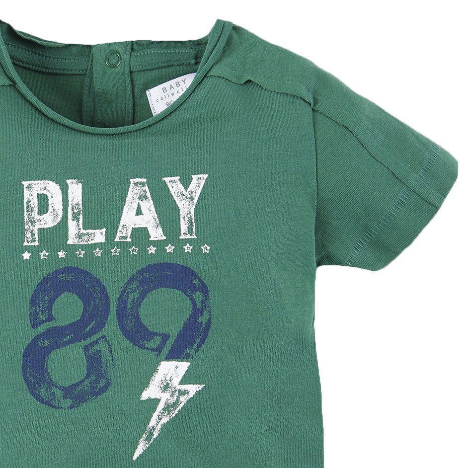 Camiseta Infantil Manga Curta Verde Play 89 Brotes