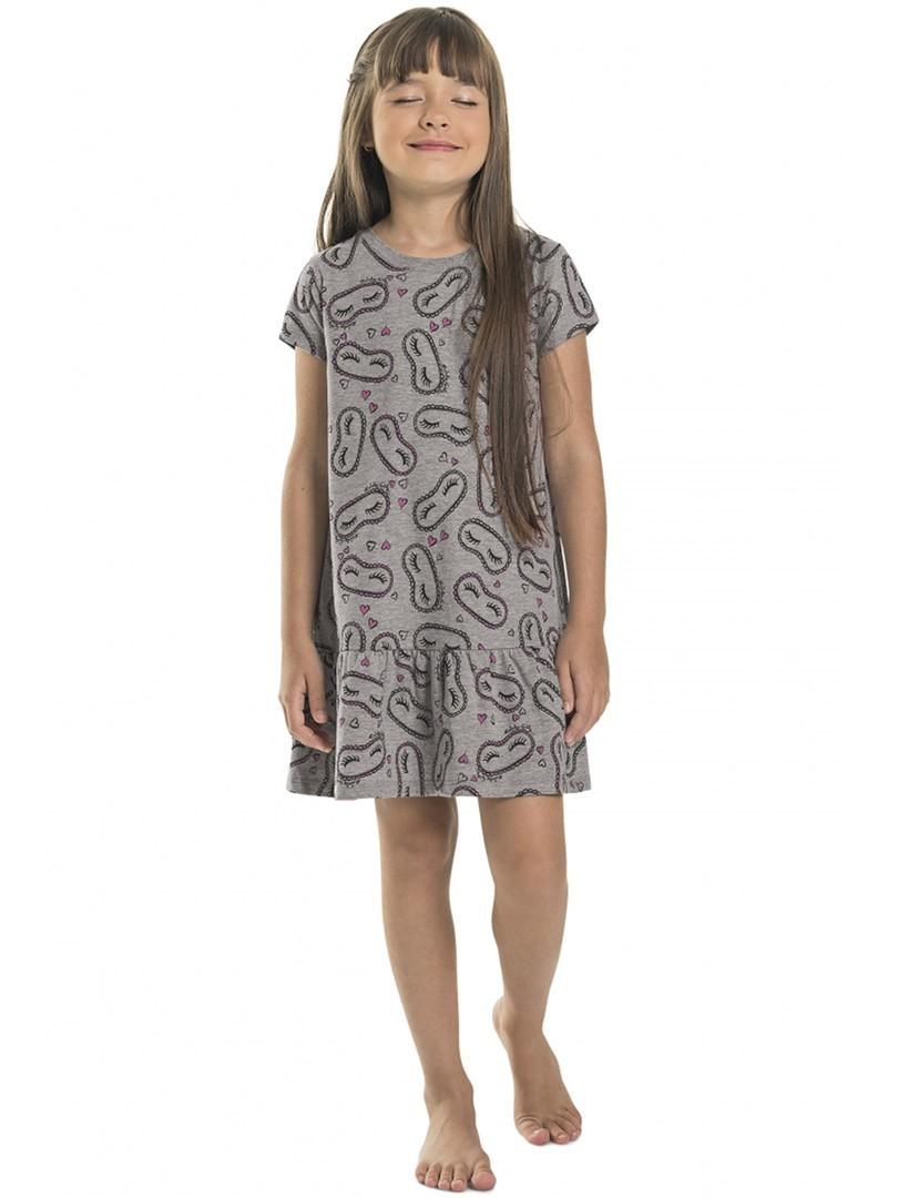 Camisola Infantil Manga Curta Cinza Quimby