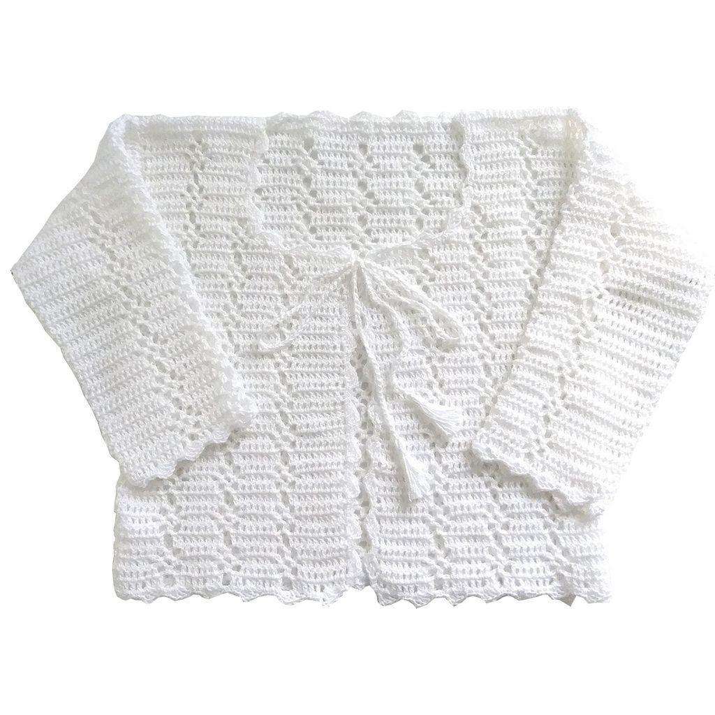 Casaco Infantil Crochê em Linha Branco