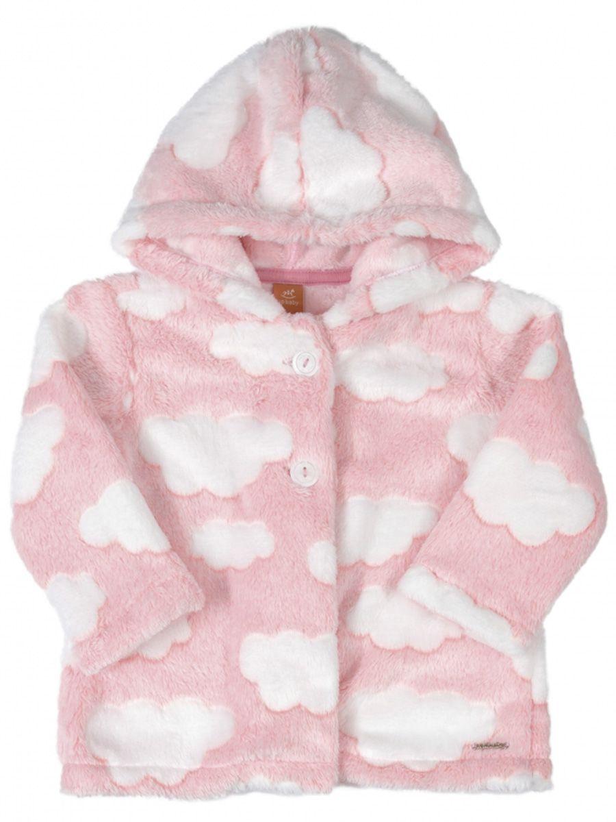 Casaco Bebê em Pelo com Capuz Nuvens Rosa Up Baby