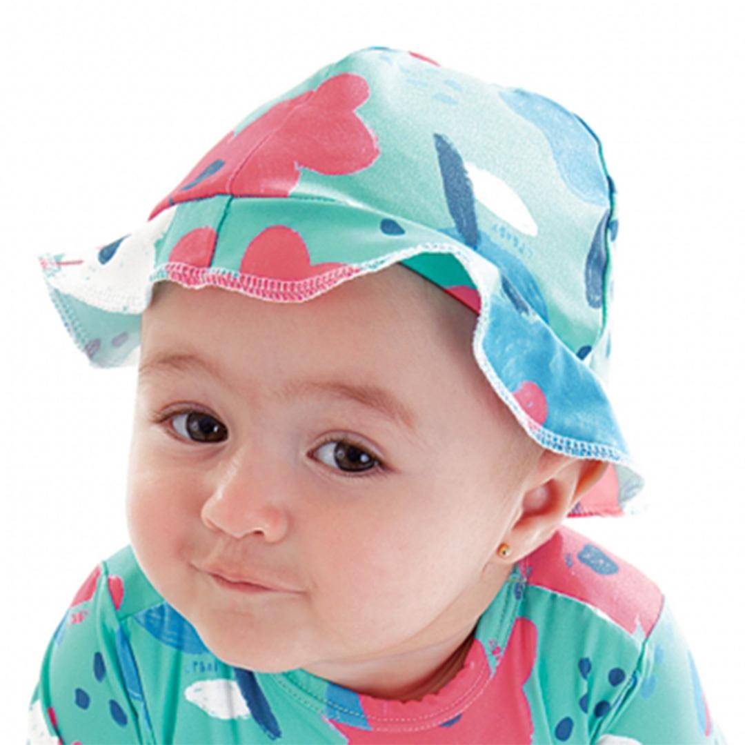 Chapéu Praia Infantil Flores Turquesa Up Baby