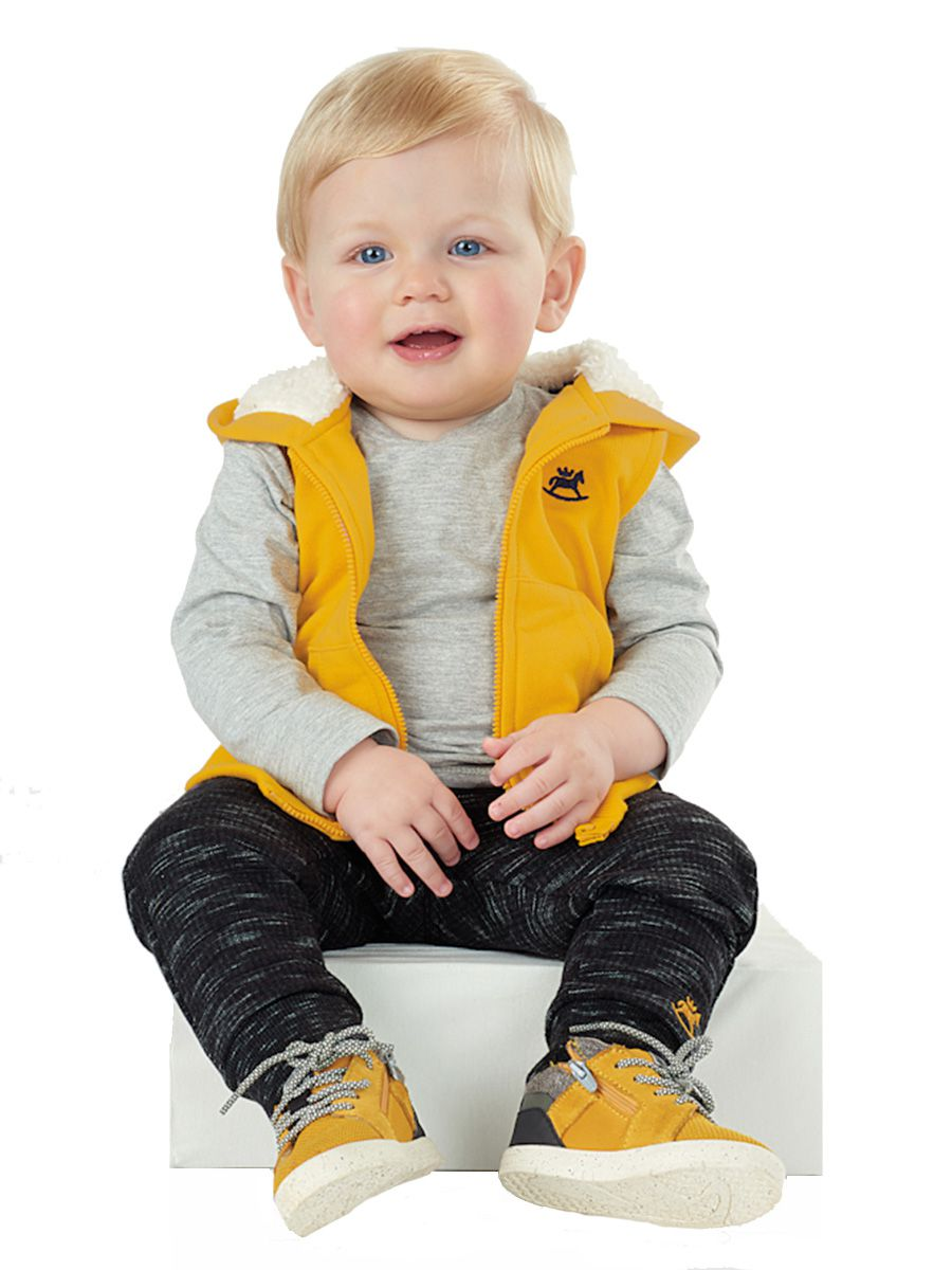 Colete Infantil em Moletom e Capuz com Pelo Amarelo Up Baby