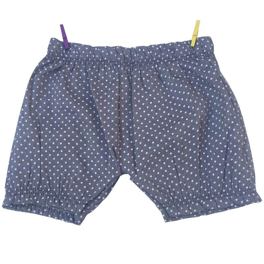 Conjunto Bebê Bata e Shorts em Tecido Azul Kiko & Kika