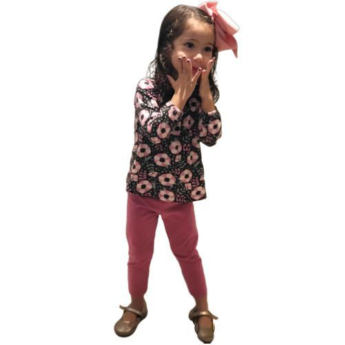 Conjunto Infantil Bata Florida e Legging Rosa Kyly