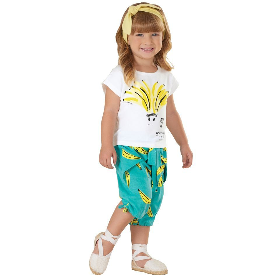 Conjunto Infantil Blusa Manga Curta e Bermuda Bananas Turquesa Up Baby