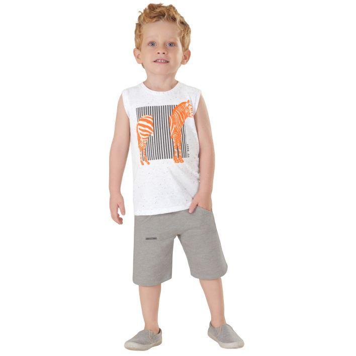 Conjunto Infantil Camiseta Regata e Bermuda em Moletom Mescla Up Baby