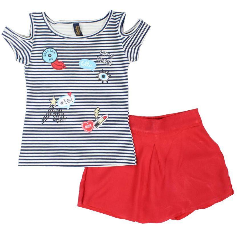 Conjunto Infantil Blusa Cotton Listrada e Shorts Saia em Tecido Duduka Premium